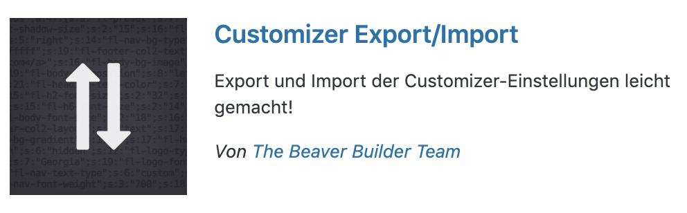 Customizer Export/Import Plugin für WordPress