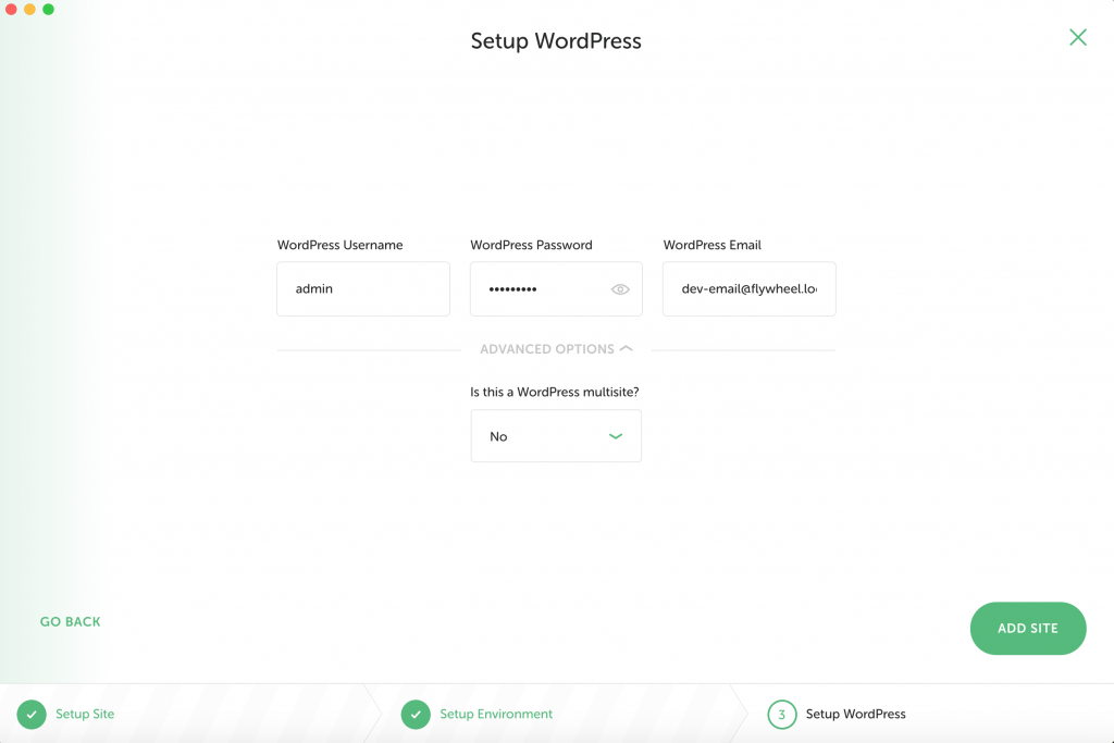 Local für WordPress Site Setup
